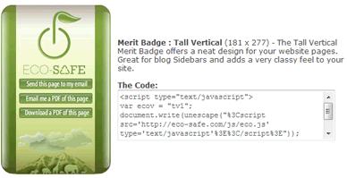 El banner más vistoso de Eco Safe Badge.