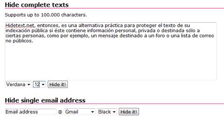 Interfaz de Hidetext.net